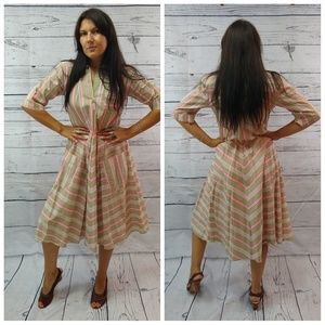 Vintage candystriper cotton dress with pockets